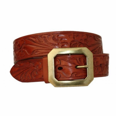 3620 Floral Embossed Leather Belt