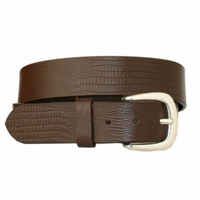 "3629 Casual Lizard Embossed Full Grain Leather Belt - 1 1/2"" wide BROWN"