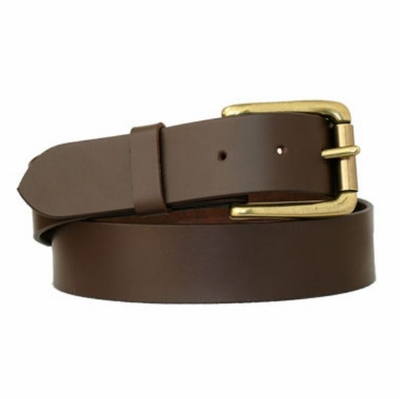 "3632 Roller Brass FUll Grain Leather Casual Belt - 1 3/8"" wide"