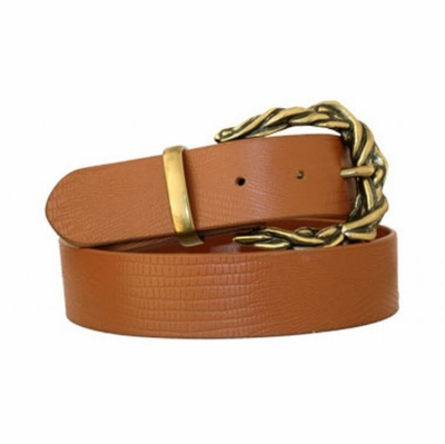 "3658 Lizard Embossed Full Grain Leather Belt - 1 1/2"" wide - TAN"