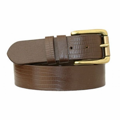 "3699 Roller Brass Full Grain Leather Casual Belt - 1 3/8"" wide"