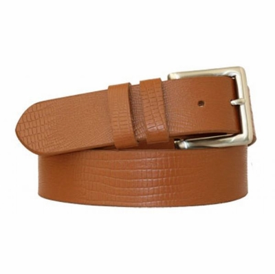 "3702 Lizard Print Full Grain Leather Belt  - 1 1/2"" wide"