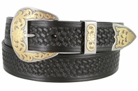 "3712 Western Basketweave Leather Dress Belt - 1 1/2"" wide"