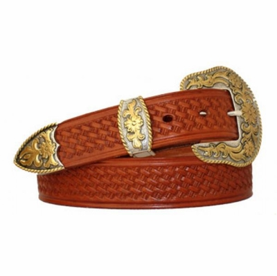 "3719 Western Basket weave Leather Belt - 1 1/2"" wide"