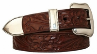 3729 Western Floral Embossed Leather Belt - 1 1/2' wide