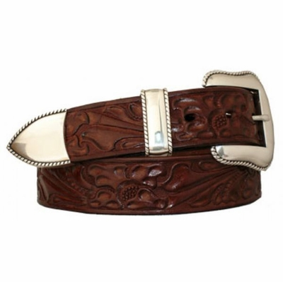 "4618 Floral Tooled Full Grain Western Leather Belt - 1 1/2"" wide"
