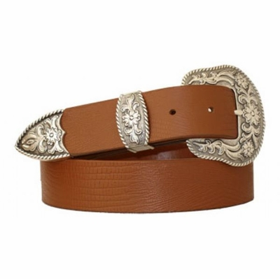 "3732 Western Lizard Embossed Full Grain Leather Belt - 1 1/2"" wide TAN"