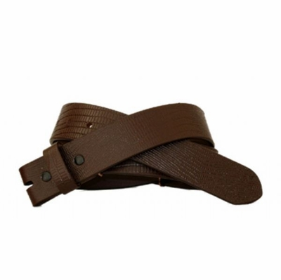 "3775 Lizard Embossed Leather Belt Strap - 1 3/8"" wide  BROWN"