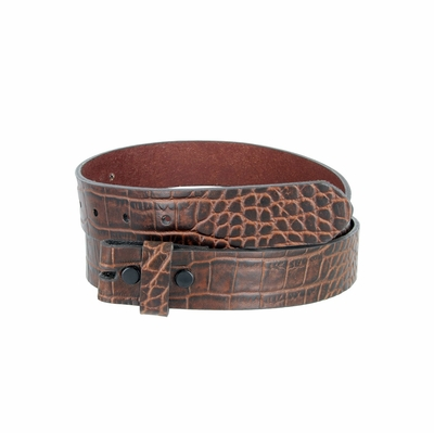 "3766 One-Piece Crocodile Embossed Full Grain Leather Belt Strap 1 1/4"" Wide - COGNAC"
