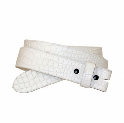 "3767 One-Piece Crocodile Embossed Full Grain Leather Belt Strap 1 1/4"" Wide - WHITE"