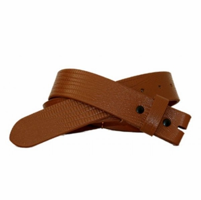 "3761 Full Grain Leather Lizard Embossed Belt Strap - 1 1/4"" wide - TAN"