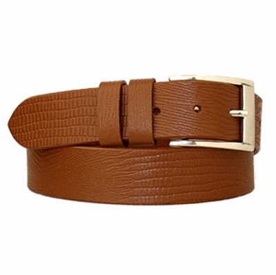 "3790 Dress Casual Lizard Print Leather Belt - 1 3/8"" Wide - TAN"