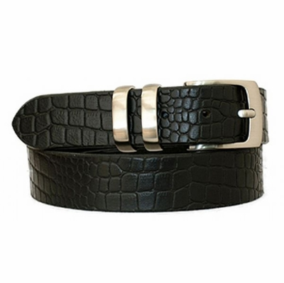 "3805 Casual Crocodile Embossed Leather Dress Belt - 1 3/8"" wide"