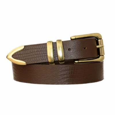 "3817 Roller Brass Buckle Full Grain Leather Belt - 1 3/8"" wide"