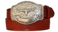 "3826 Full Grain Basket-weave Leather Belt - 1 /2"" wide"