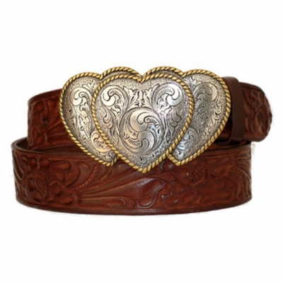 3829 Triple Heart Western Floral Embossed Leather Belt