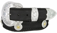 "3834 Scallop Western Hand Laced Edge with Polished Floral Buckle Set and Gold Star Conchos 1-1/2"" wide - BLACK"