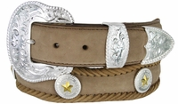 "3834 Scallop Western Hand Laced Edge with Polished Floral Buckle Set and Gold Star Conchos 1-1/2"" wide - BROWN"