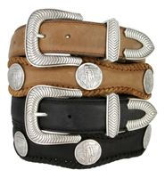 """3836 American Indian Coin Concho Western Genuine Leather Belt - 1 1/2"""" Wide"""