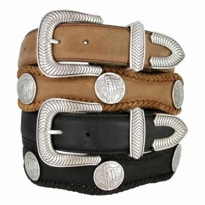 "3836 American Indian Coin Concho Western Genuine Leather Belt - 1 1/2"" Wide"