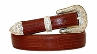3844 Lizard Embossed Calfskin Leather Western Dress Belt
