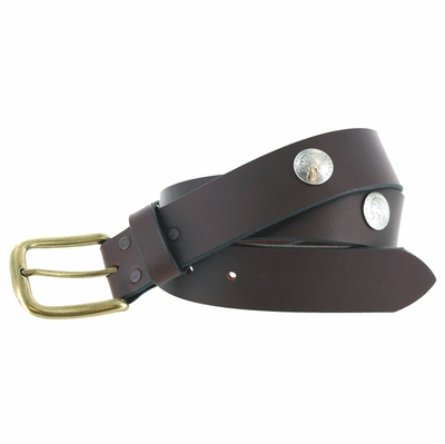"""3847 Casual Full Grain Leather Concho Belt - 1 1/2"""" wide"""