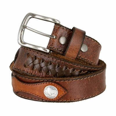 3848 Fullerton Vintage Concho Hand-Laced Genuine Full Grain Leather Belt 1-1/2 Wide