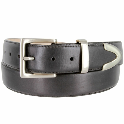 """3849 Men's Smooth Genuine Leather Stitched Edges with Brushed Buckle Set - 1 1/2"""" wide"""