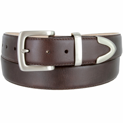 "3853 Men's Smooth Genuine Leather Stitched Edges with Brushed Buckle Set - 1 1/2"" wide"