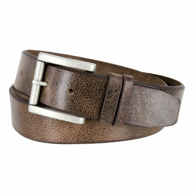 "3854 Feathered Vintage Leather Roller Buckle Belt - 1 1/2"" Wide - BROWN"