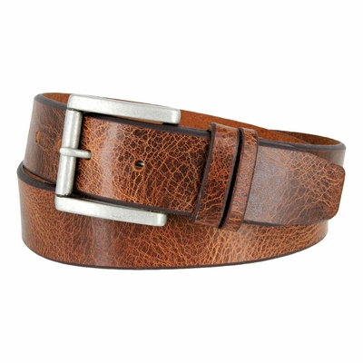 "3854 Feathered Vintage Leather Roller Buckle Belt - 1 1/2"" Wide - TAN"