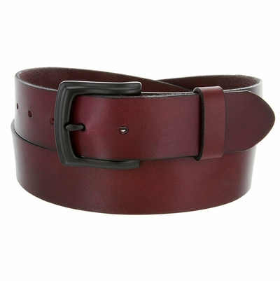 3857 Burgundy Full Grain Genuine Work Jean Casual Leather Belt With Black Solid Buckle