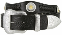 "3859 Genuine Full Grain Western Officer Leather Belt 1-1/2"" wide - Black"
