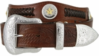 "3859 Genuine Full Grain Western Officer Leather Belt 1-1/2"" wide - Brown"