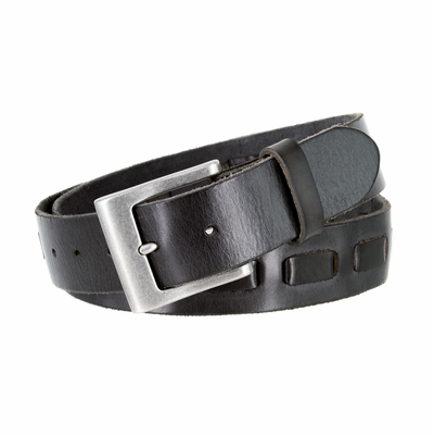 "3880 Men's Casual Jean Belt 100% Fullerton Genuine Full Grain Leather with a Middle Hand Laced and an Antique Silver Buckle - BLACK - 1 1/2"" WIDE"