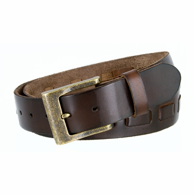 "3880 Men's Casual Jean Belt 100%  Genuine Full Grain Leather with a Middle Hand Laced and a Brass Buckle - BROWN - 1 1/2"" WIDE"