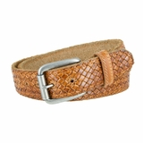 """Crossweave Genuine Stitched Edges Leather Belt Strap 1-1//2/"""" Wide Brown Tan"""