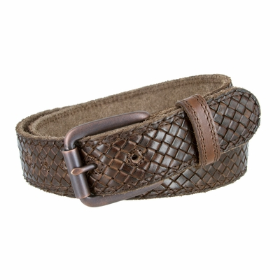 "3885 Fullerton Cross-weave Genuine Full Grain Double Stitched Edges Leather Belt Copper Roller Buckle - BROWN - 1 1/2"" WIDE"