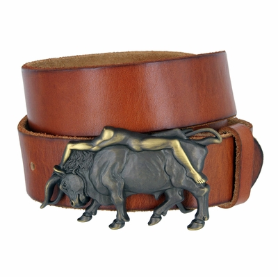 """3912 Bull and the Lady Belt Buckle Casual Jean Leather Belt - 1 1/2"""" wide"""