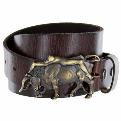 "3912 XL Bull and the Lady Belt Buckle Casual Jean Leather Belt - 1 1/2"" wide"