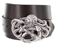 "3913XL Octopus Boat Anchor Buckle Casual Jean  Leather Belt - 1 /2"" wide"
