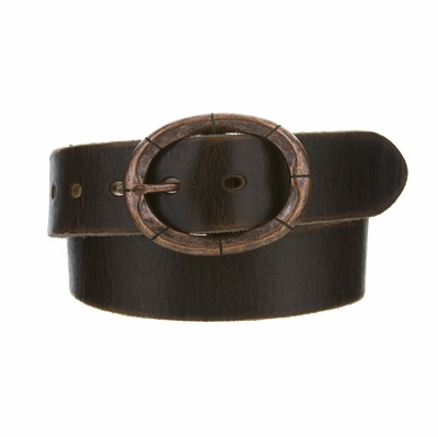 "3916 Fullerton Vintage Casual Genuine Full Grain Leather Belt  1 1/2"" wide - Copper Buckle"