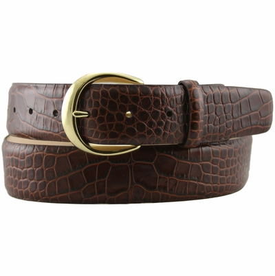 "3916 Women's Designer Italian Calfskin Alligator Embossed Leather Dress Belt - 1 1/2"" Wide"