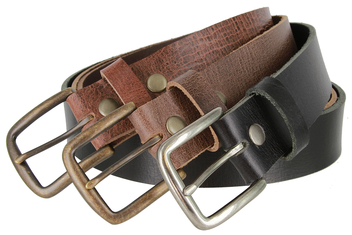 One Piece Genuine Casual Grain Leather Belt 1-1//2 wide Made in USA