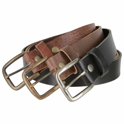 "3917 One Piece Hand-cut Genuine Full Grain Casual Leather Belt  Made in USA 1-1/2"" Wide"