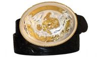 "3952 Alpaca Buckle - Floral Embossed Leather Belt - 1 1/2"" wide"