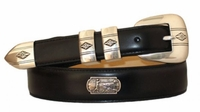 3958 Golf Theme Hand Dyed  Italian Calfskin Leather Belt