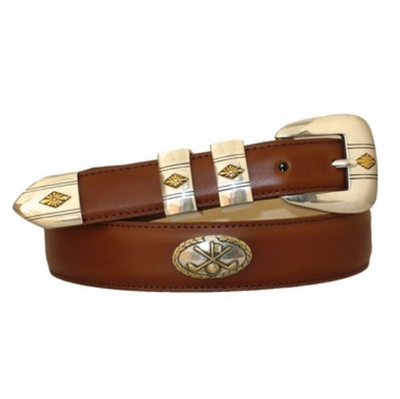 3959 Hand Dyed Golf Theme Leather Dress Belt