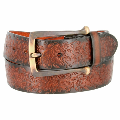 "3971 Full Leather Vintage Floral Engraved Tooled Casual Jean Belt - 1 1/2"" WIDE"