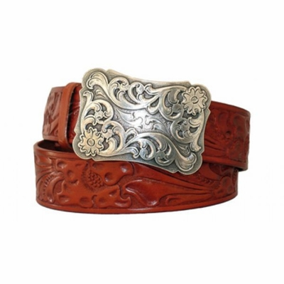 "3996 Floral western Buckle and Belt - 1 1/2"" wide"